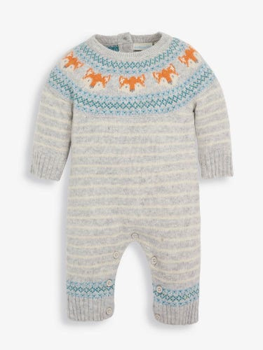 Marl Grey Fox Knitted Baby All-in-One