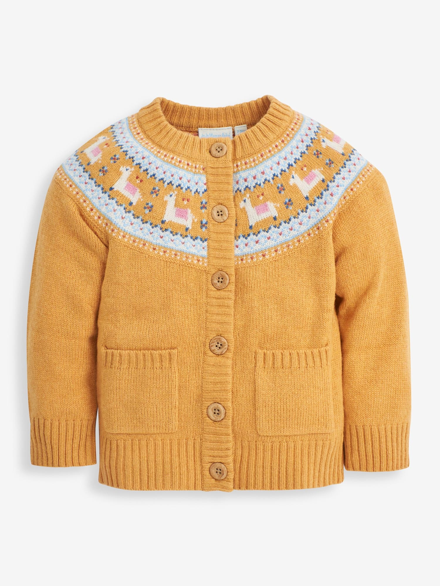 Girls' Mustard Llama Fair Isle Cardigan