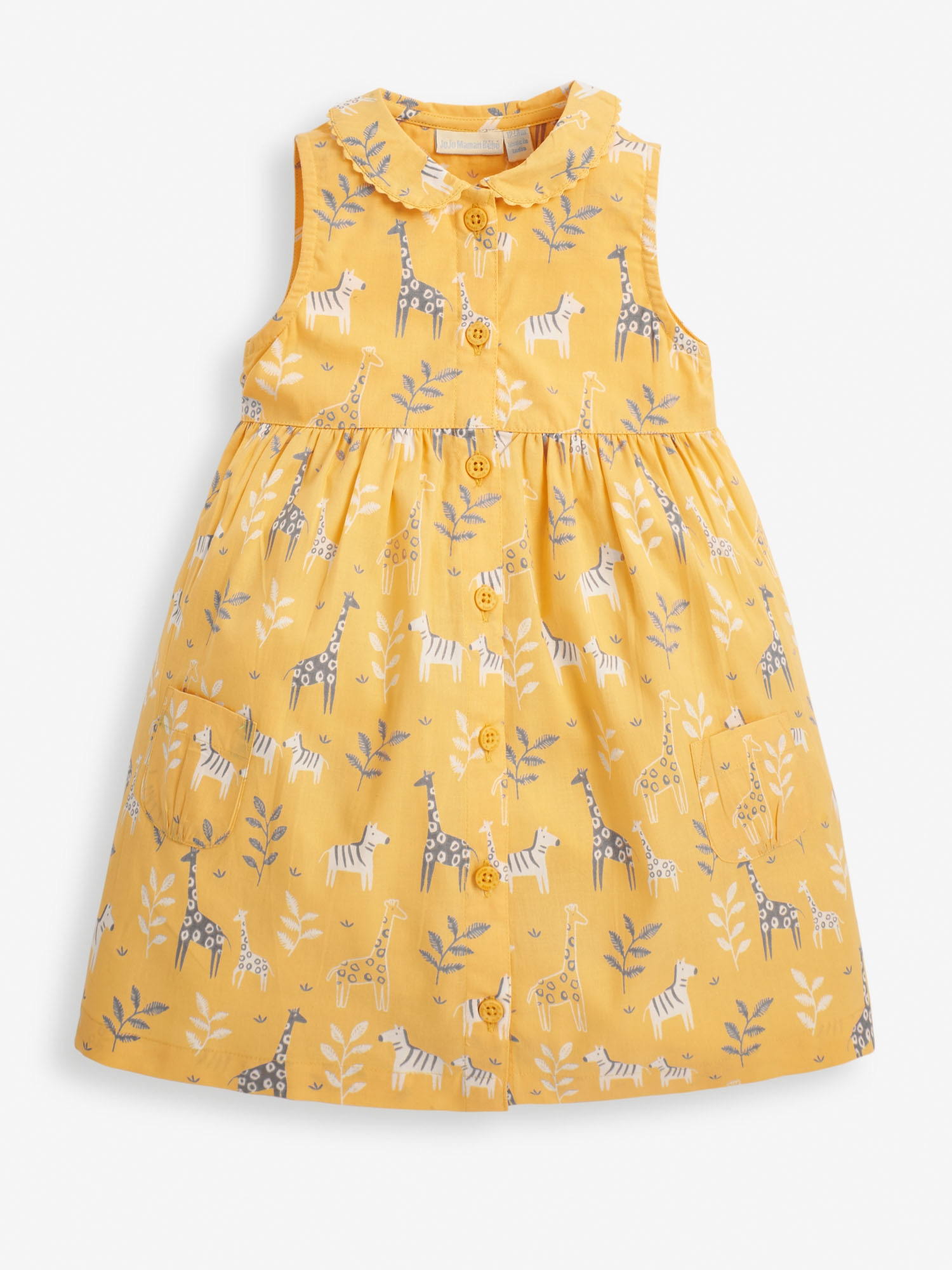 Girls' Mustard Giraffe & Zebra Print Shirt Dress