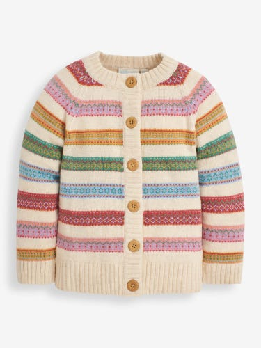 Girls' Soft Stripe Fair Isle Cardigan