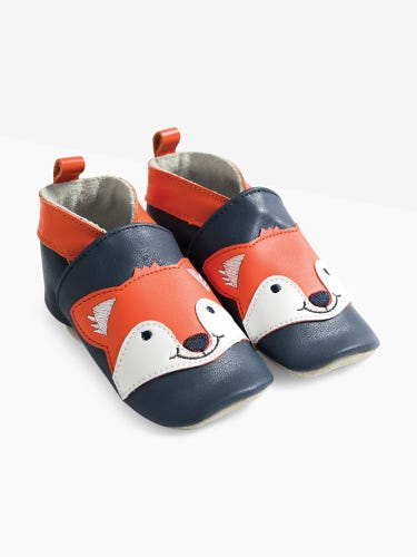 Navy Fox Leather Baby Booties