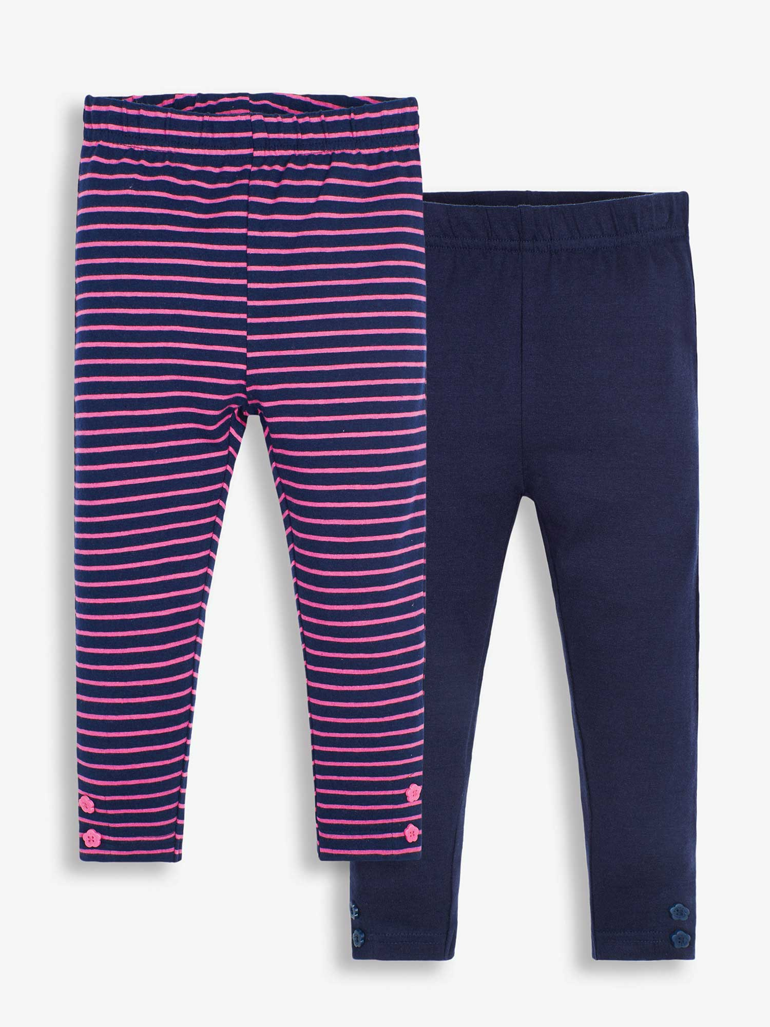 2-Pack Girls' Navy & Fuchsia Stripe Leggings