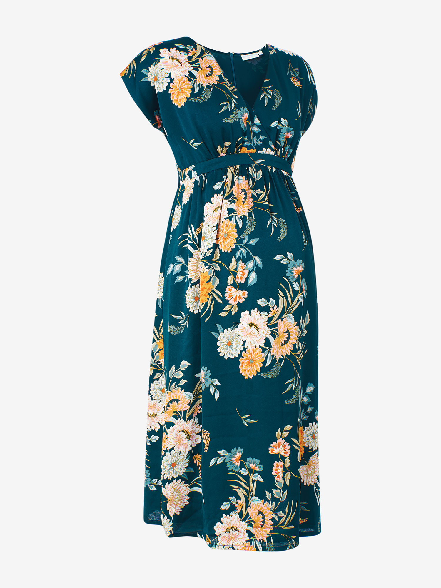 Navy Wrap Floral Maternity Wrap Dress