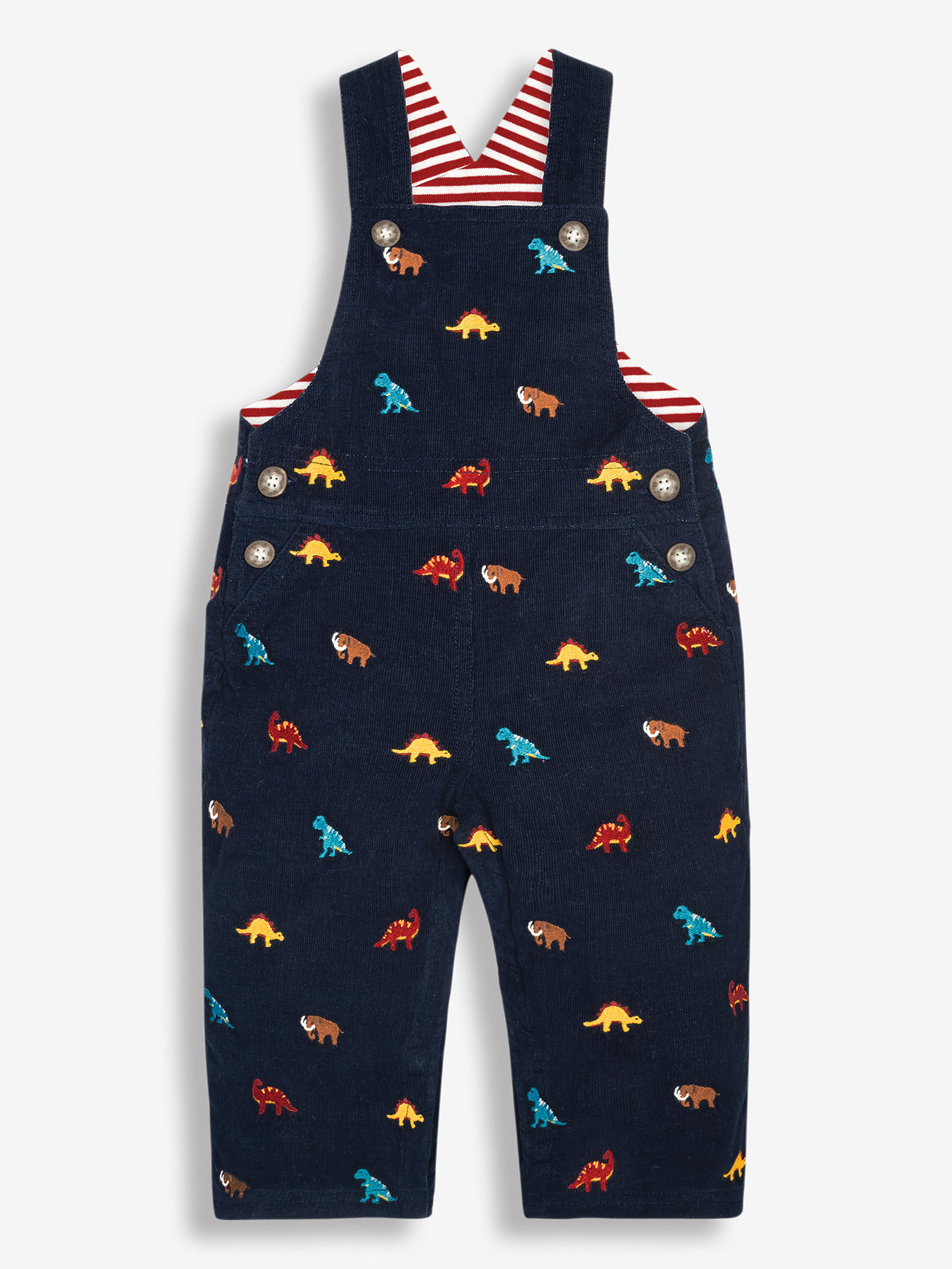 Prehistoric Animals Embroidered Baby Dungarees
