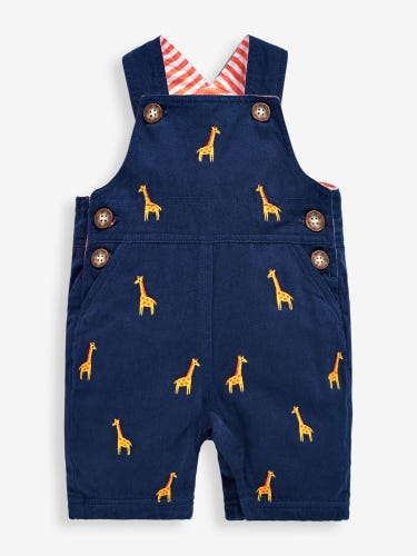 Navy Giraffe Embroidered Baby Dungarees