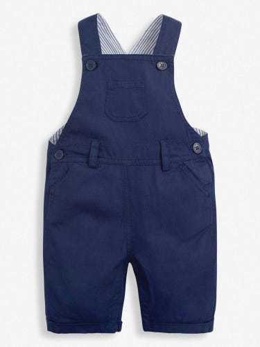 Navy Woven Short Baby Dungarees