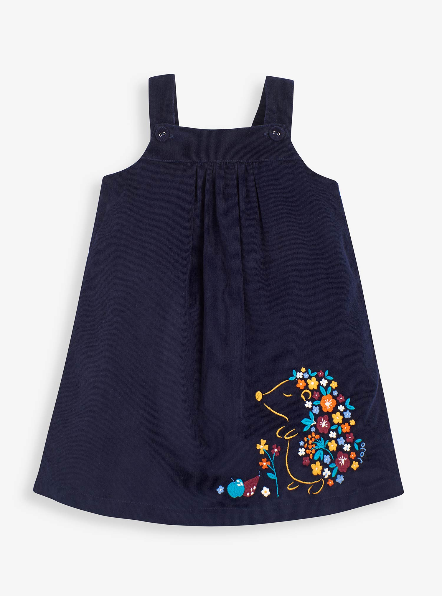 Girls' Hedgehog Embroidered Cord Pinafore