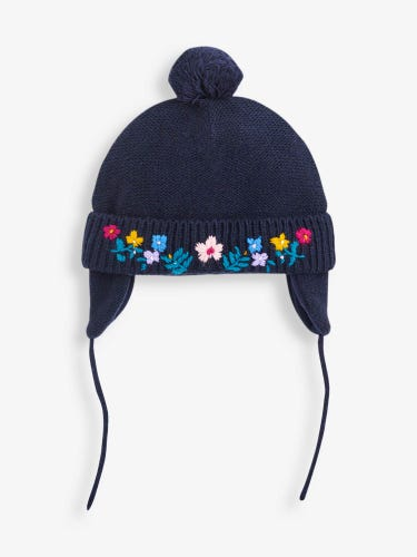 Navy Floral Embroidered Hat