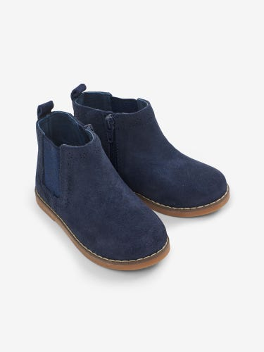 Pretty Navy Leather Chelsea Boots