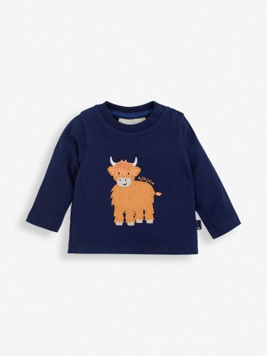 Navy Highland Cow Baby Top
