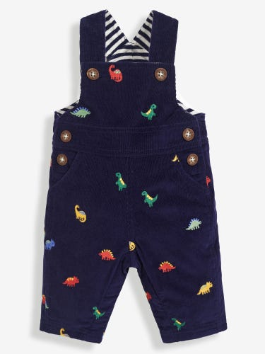 Navy Dinosaur Embroidered Baby Dungarees