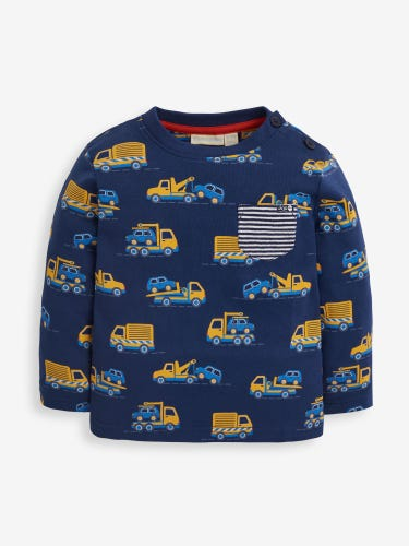 Kids' Navy Recovery Truck Print Top