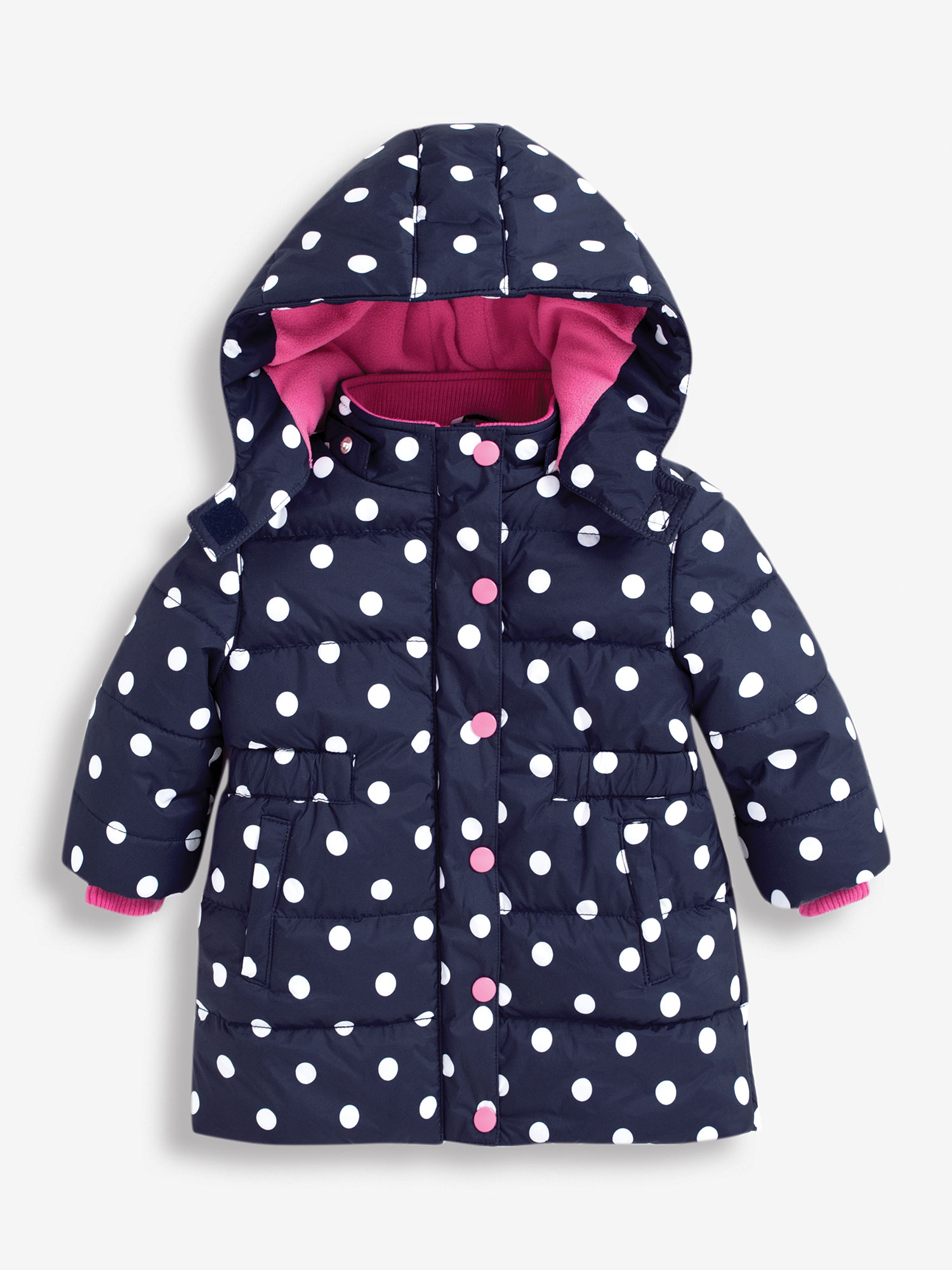 Girls' Navy & White Dot Puffer Jacket