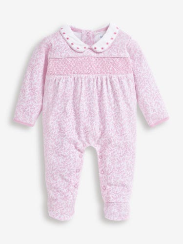 Pink Pretty Smocked Baby Sleepsuit
