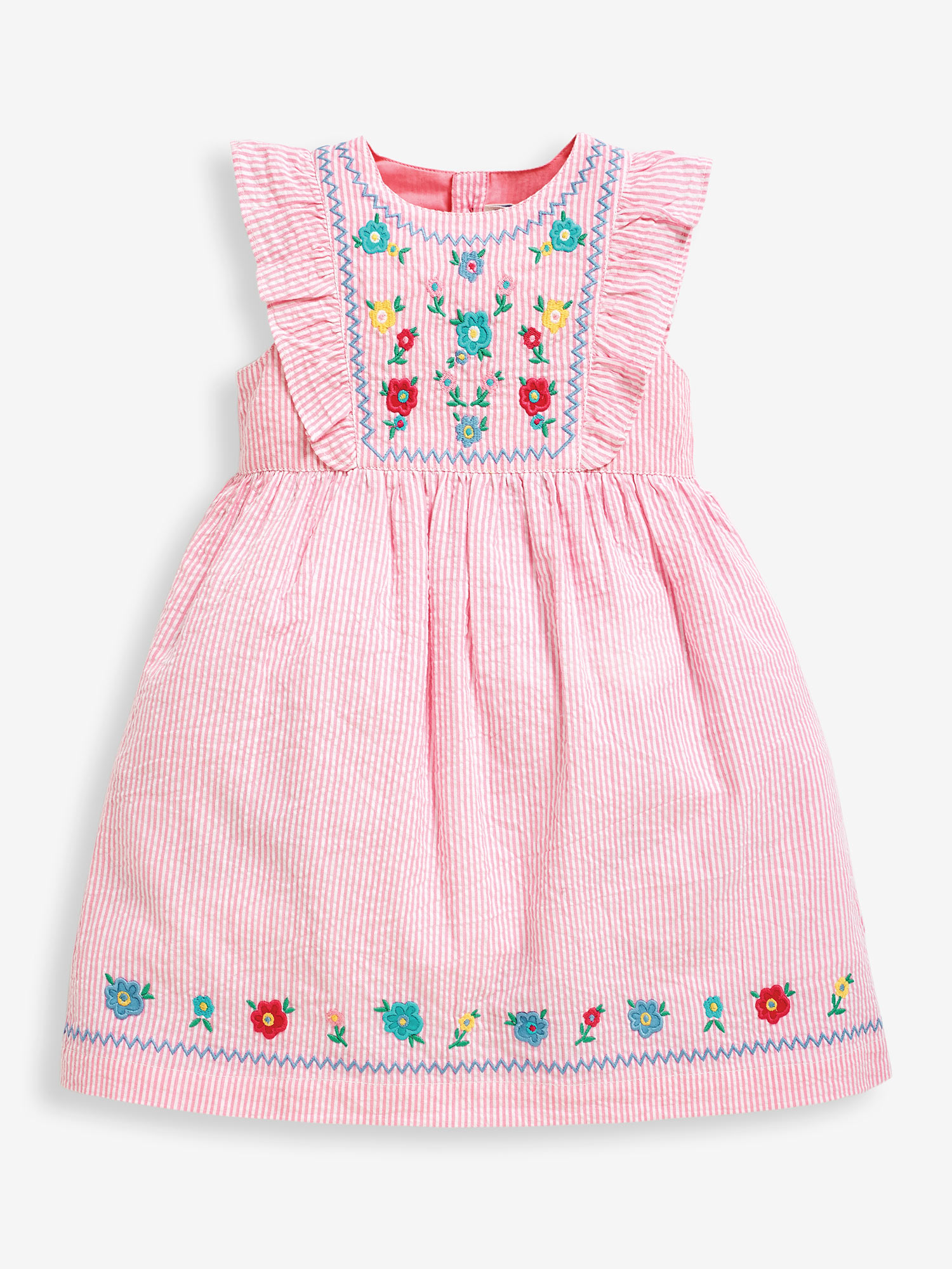 Girls' Pink Floral Embroidered Frill Dress