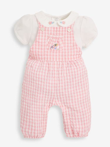 2-Piece Pink Baby Dungaree & Peter Pan Top Set