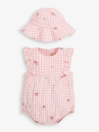 2-Piece Embroidered Bubble Baby Romper & Hat Set