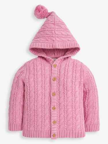 Kids' Cable Knit Hooded Cardigan