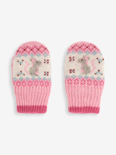 Pink Mouse Fair Isle Mittens