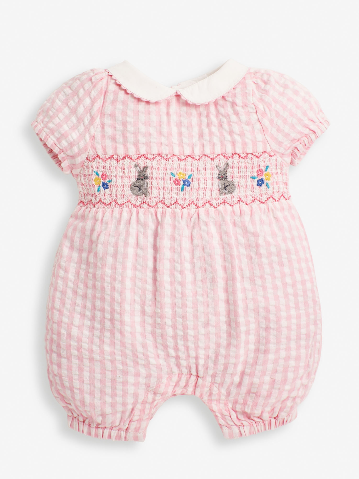 Pink Bunny Embroidered Smocked Baby Romper