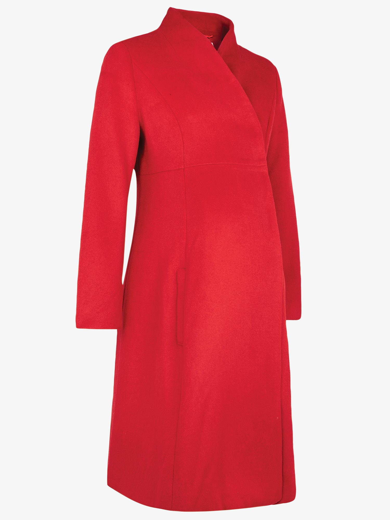 Red Fit & Flare Maternity Coat