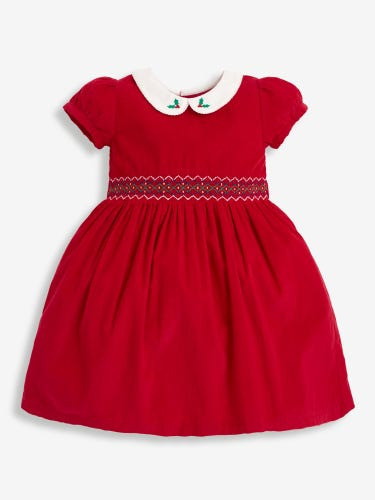 Girls' Red Smocked Cord Christmas Party Dress