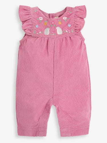 Pink Garden Friends Embroidered Baby Dungarees