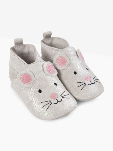 Silver Mouse Leather Baby Booties