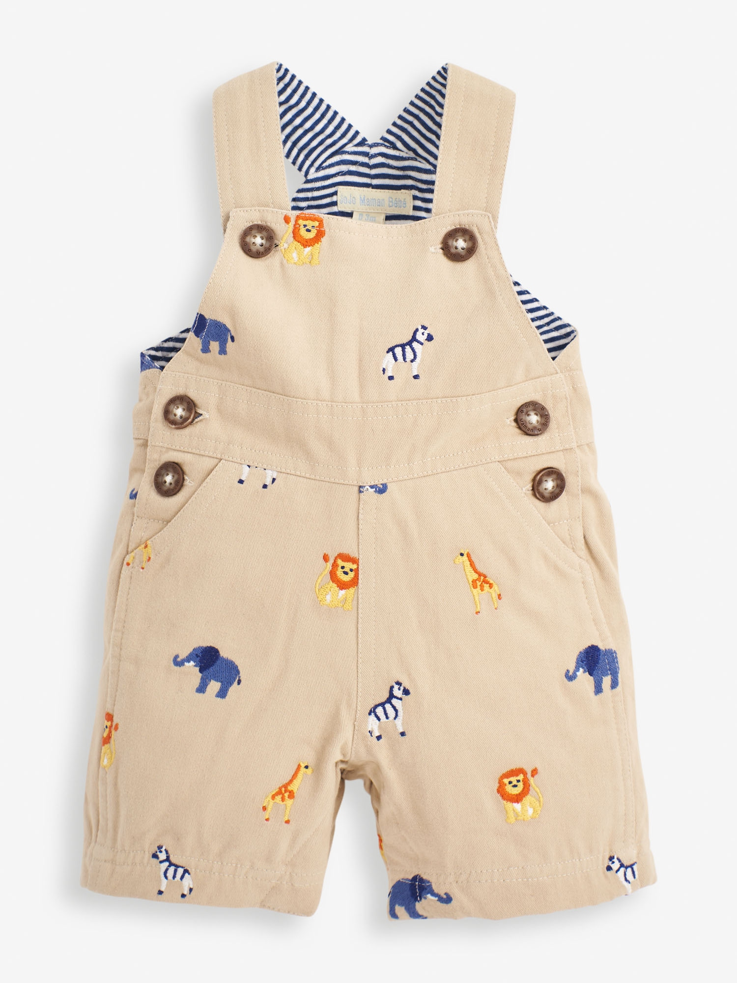 Stone Safari Embroidered Baby Dungarees
