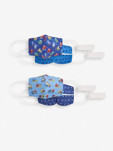 2-Pack Kids' Reversible Face Coverings with Ear Straps