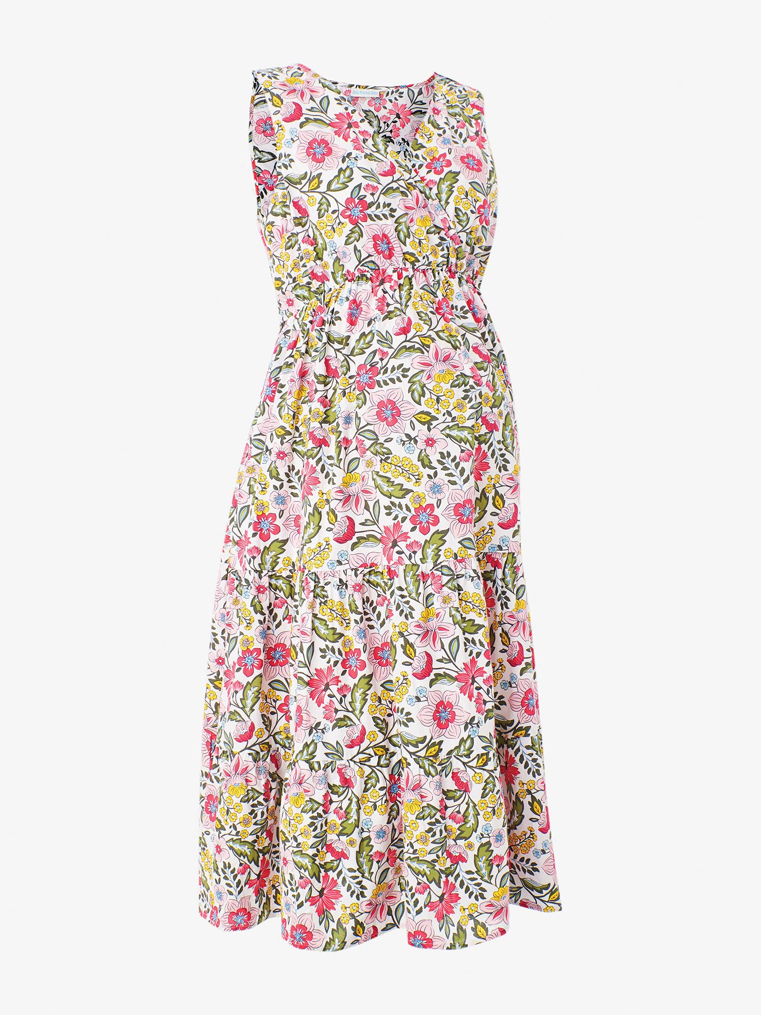 Pink Floral Tiered Maternity Dress