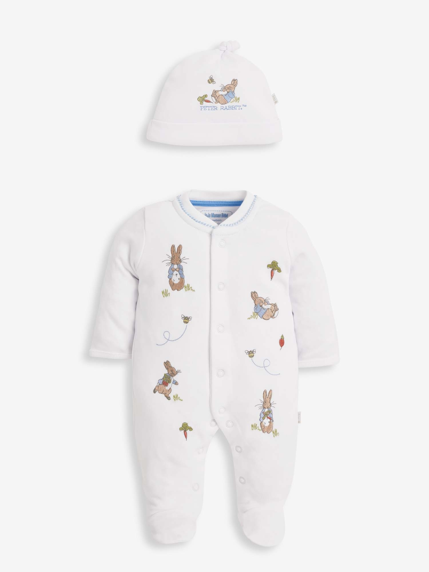 2-Piece Peter Rabbit Veg Patch Embroidered Baby Sleepsuit & Hat Set
