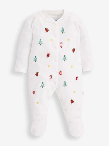 White Christmas Embroidered Baby Sleepsuit