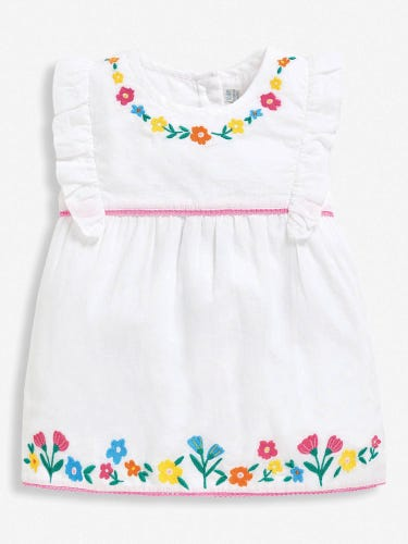 Girls' White Embroidered Floral Top