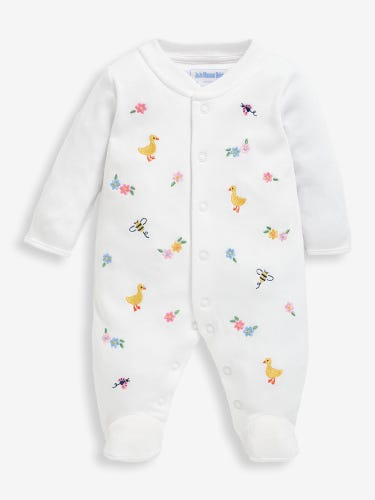 Floral Duck Embroidered Baby Sleepsuit