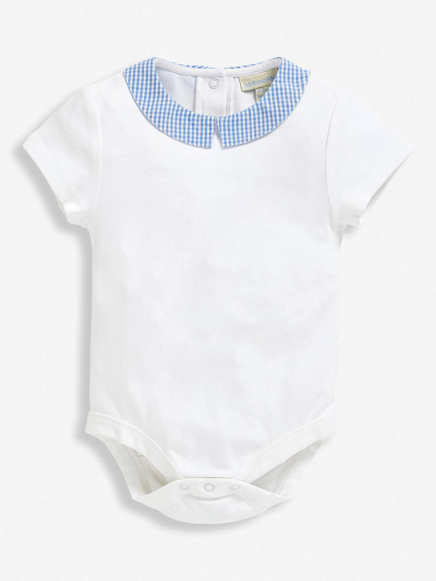 White Gingham Collar Baby Bodysuit