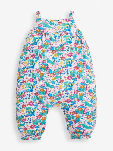Girls' White Tropical Bird Jumpsuit