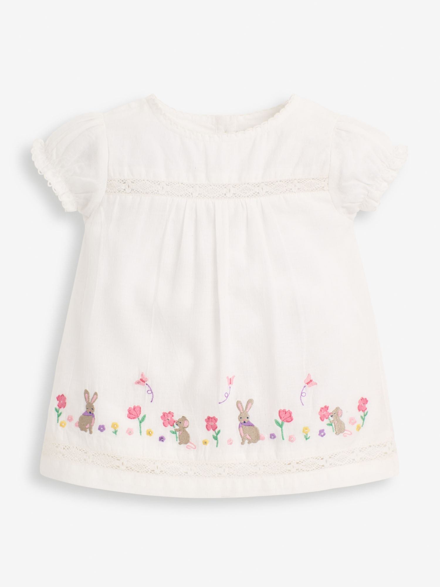 Girls' White Embroidered Bunny Blouse