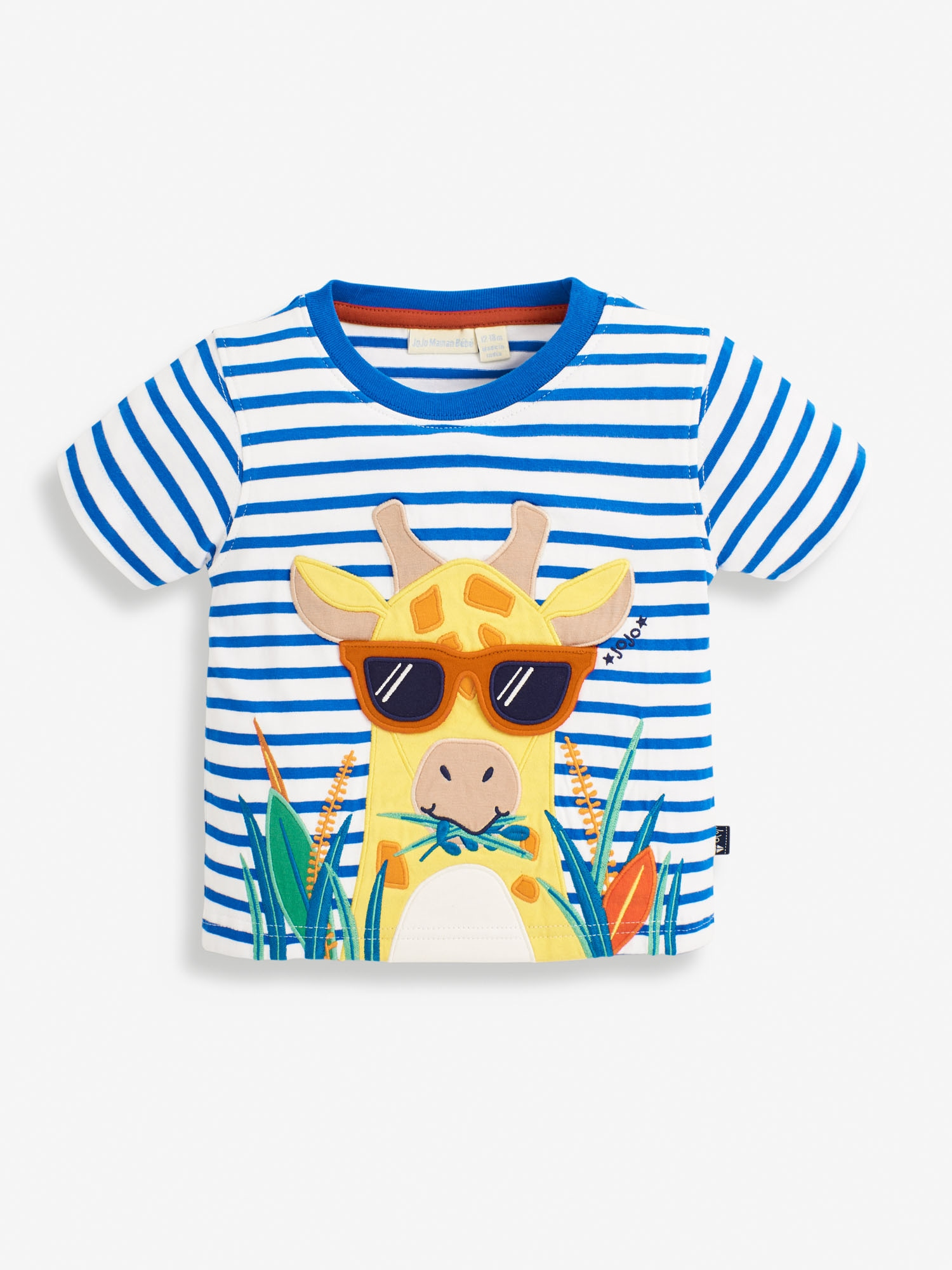 Kids' Striped Giraffe Applique T-Shirt