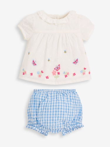 2-Piece Baby Frill Collar Top & Bloomers Set