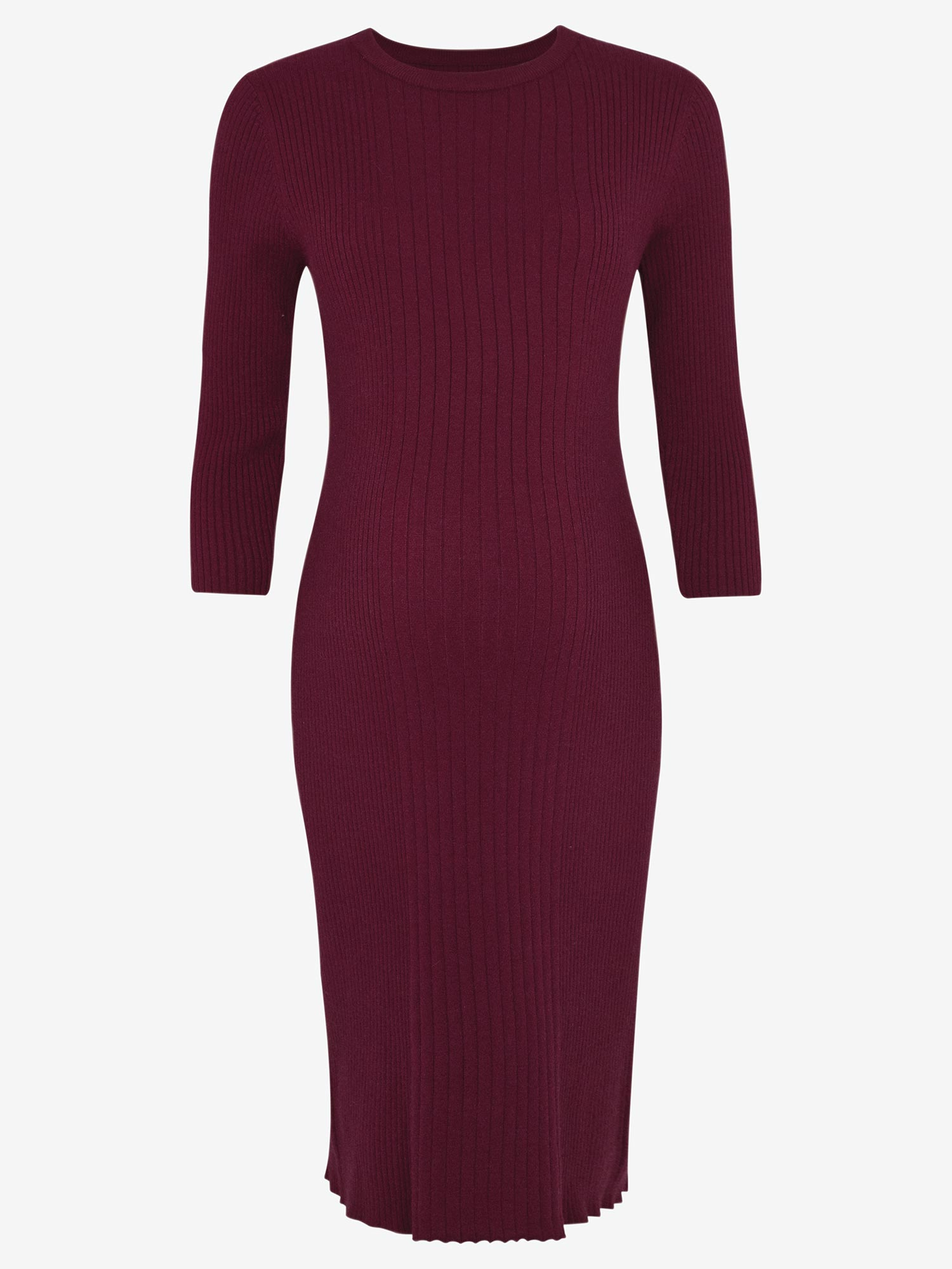 Wine Knitted Maternity Tube Dress