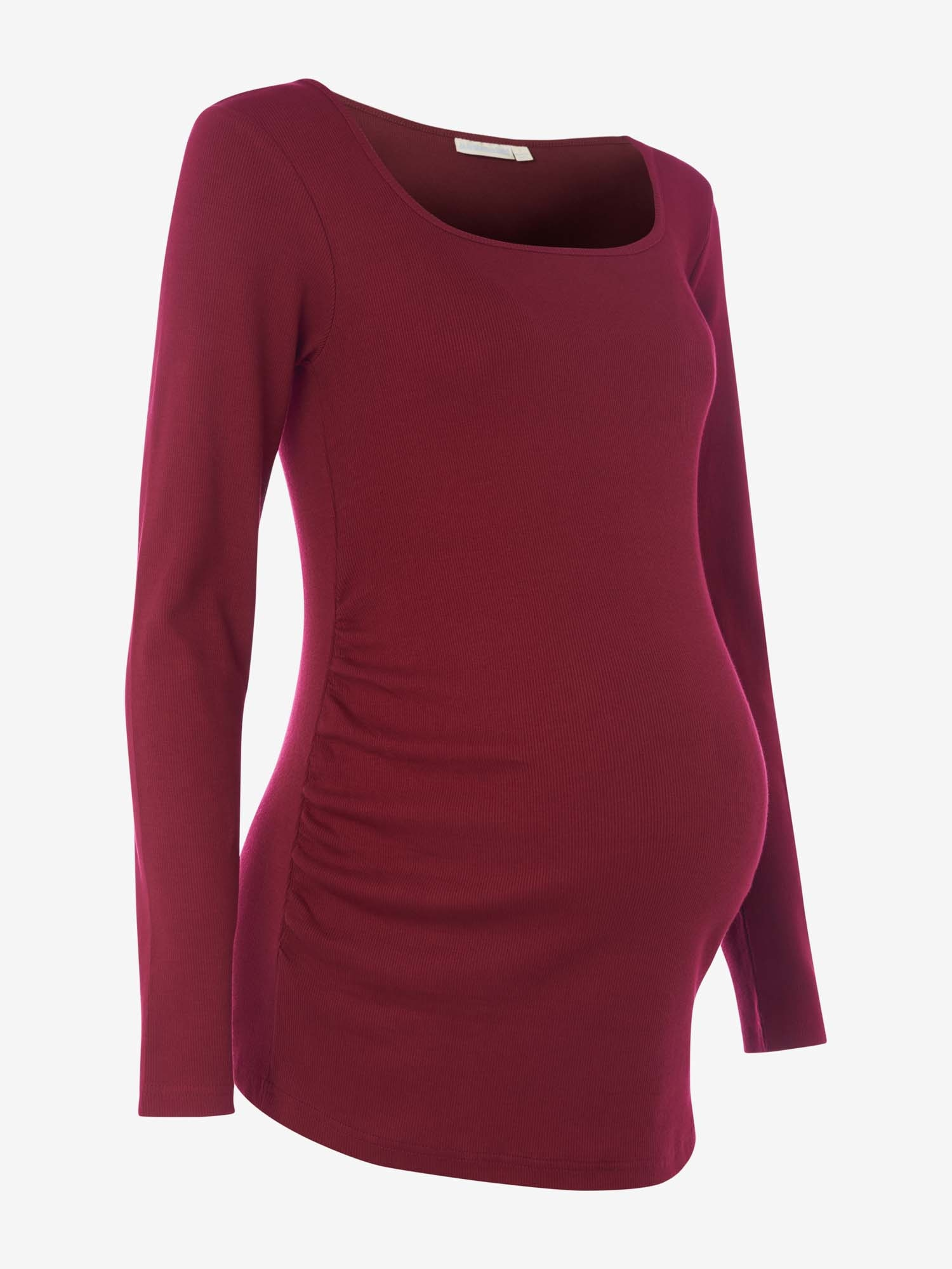 Wine Scoop Neck Ribbed Maternity Top