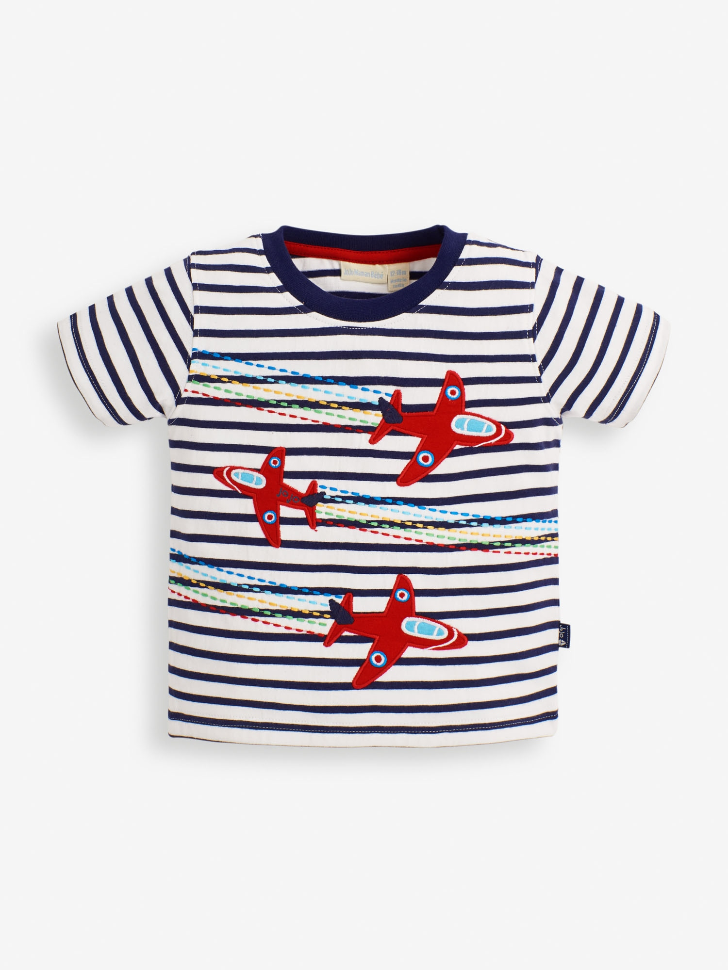 Kids' White Navy Stripe Red Arrows Applique T-Shirt