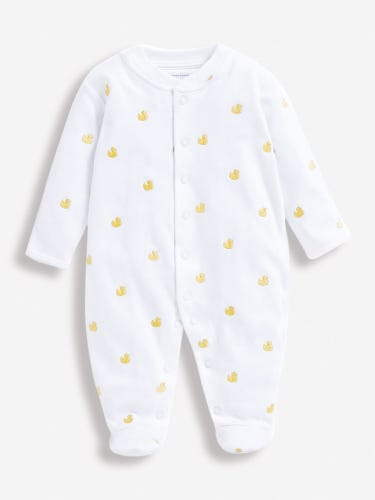 Duck Embroidered Baby Sleepsuit