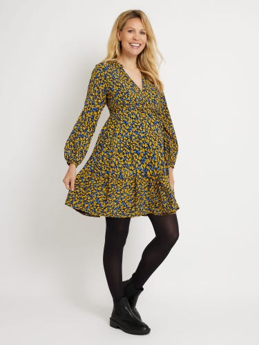 Yellow Floral Print Tiered Maternity Dress